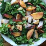 pork belly salad with peaches